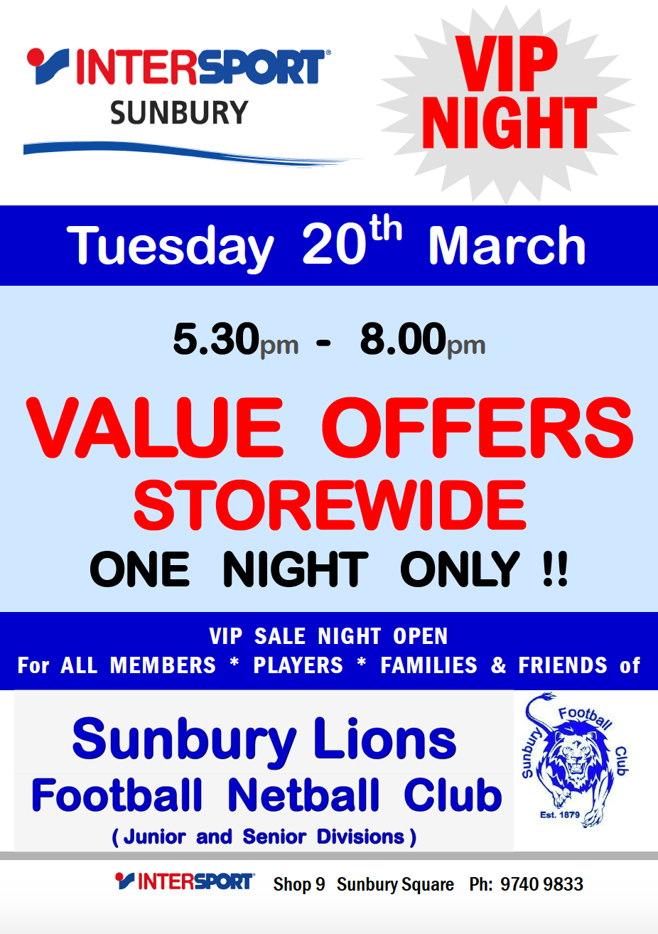 InterSport Sunbury VIP Night
